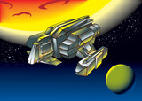 Spaceship between two planets, vector illustration