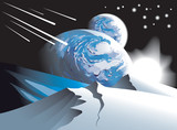 Background with two satellite planets, vector