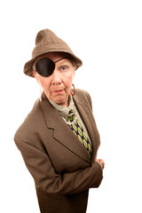 Senior woman in drag with eye patch