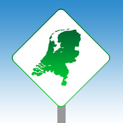 Netherlands map sign
