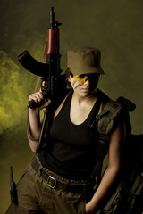 Girl soldiers in the smoke