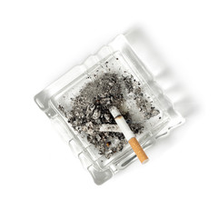 Ashtray with Cigarette, Isolated on White