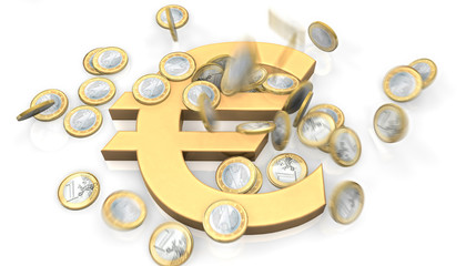 Coins fall on Euro Logo