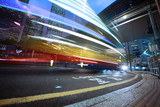Speeding bus, blurred motion.