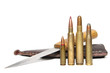 4 different caliber rifle cartridges and hunting knife