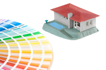 color samplers and the model of the house which is to be decorat