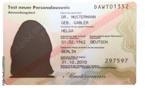 Leinwanddruck Bild Personalausweis Deutschland 2010