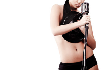 Cute naked female singing song, isolated over white
