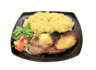 Beef steak with butter and potatoes