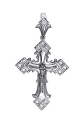 Antique christian cross isolated on white background