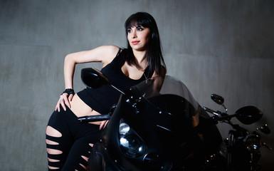 Girl near motorbike