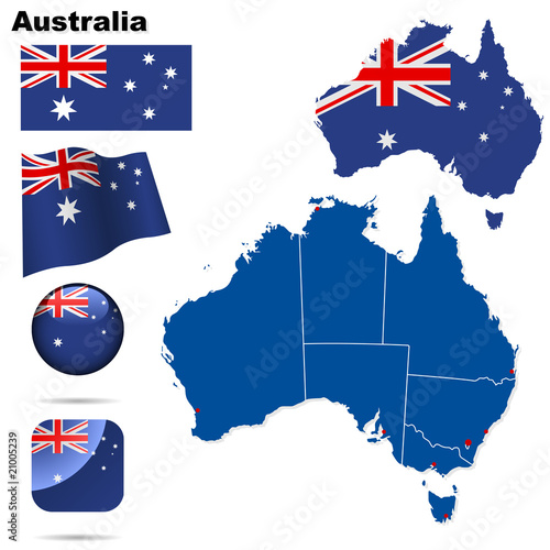 Australia vector set. Shape, flags and icons.