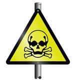 Toxic hazard warning sign mounted on post poster