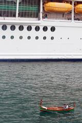 Cruise and fishing boat in La Valletta Malta