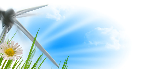wind turbine, sun and flower - energy and environment
