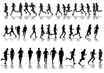 Silhouettes running
