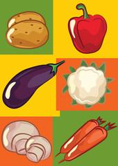 Potato, pepper, eggplant , cauliflower , carrot, mushroom