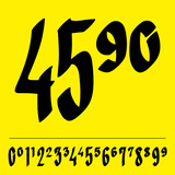 Handwritten price tag figures - vector poster