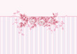 Striped greeting  card with pink roses