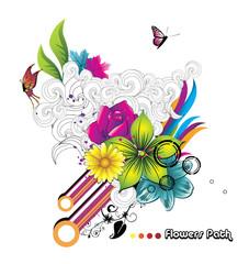 ilustracion floral abstracta en vector