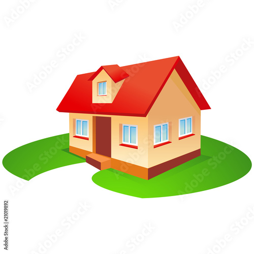 House with red roof and garden in vector format. eps and ai file