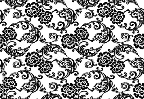 Vector illustration. Seamless leaf pattern with flower bud