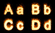 Burning A, B, C, D characters