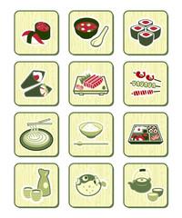 Japanese sushi-bar or restaurant icons | BAMBOO series