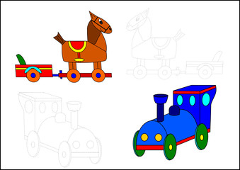 Coloring book-horse and locomotive