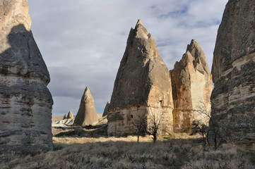 Turkey. Cappadocia. Fairy chimneys in Goreme (Gereme)