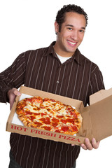 Man Holding Pizza
