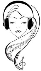 Beautiful girl listening to headphones