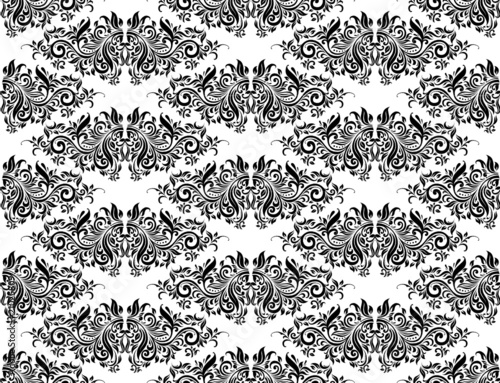 Damask Pattern Black and White