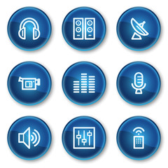 Media web icons, blue circle buttons