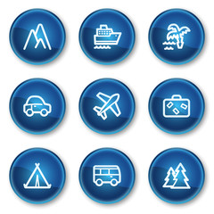 Travel web icons set 1, blue circle buttons