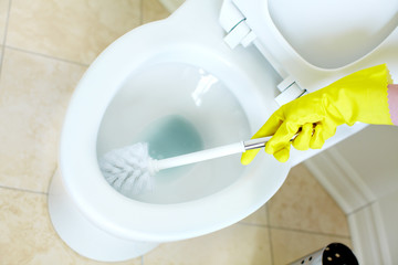 Flush toilet. Cleaning