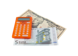 Calculator with 5 euro and 10 dollar banknotes, over white