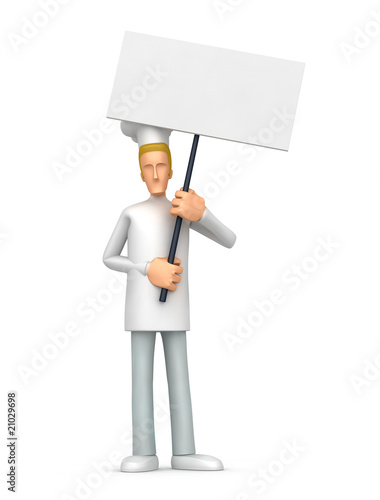 Chef standing with placards on the picket