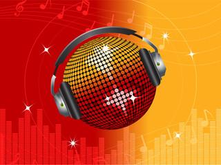 red and orange disco ball DJ