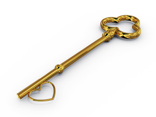 Gold key to access with heart