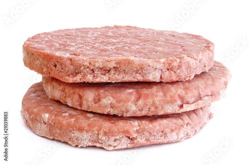 Three Frozen Hamburger Patties