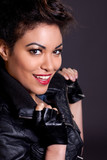 Beautiful Woman in Black Leather Jacket Portrait