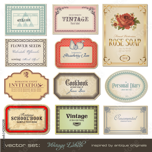 vintage labels - inspired by antique originals - 21042208
