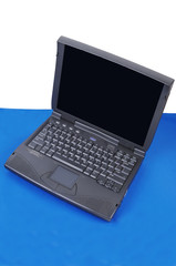 Gray laptop computer.