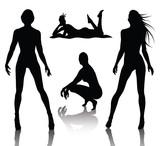 Fototapety Woman silhouette set