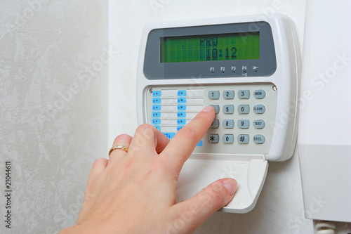 Leinwanddruck Bild Close up of a security alarm keypad