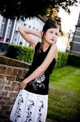Teenage fashion girl black and white clothes