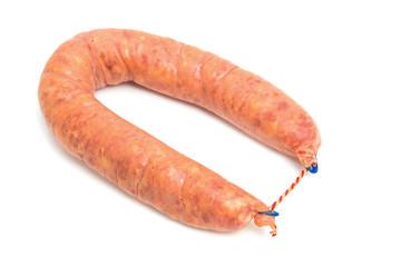 Fresh sausage over white background