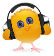 Chick with earphones