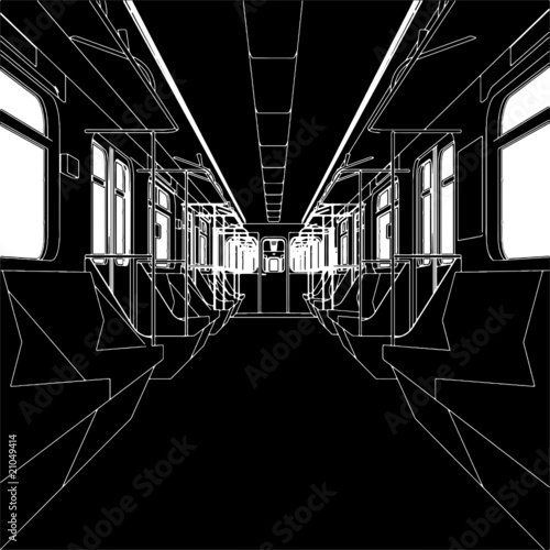 Inside Of Metro Train Wagon Vector 01